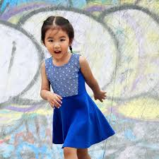 blue dress with diamond print
