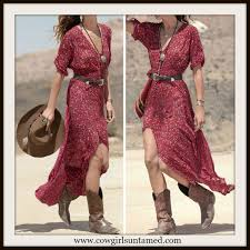 western cowgirl dress red floral button front maxi dress cute