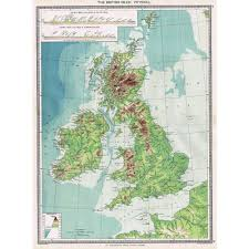 British Isles Map Antique Map 1906 The British Isles Physical Map Harmsworth