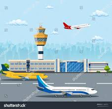 airport building airplanes on runway control stock vector