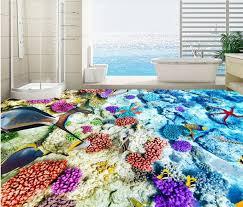 waterproof floor custom 3d wallpaper floor colorful seabed bedroom
