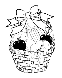 fruit basket in your decorate with ribbon coloring page for kids