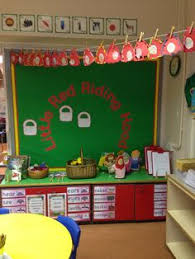 red riding hood display classroom red