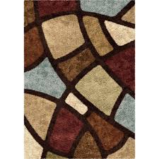 Brown Geometric Rug Orian Rugs Soft Shag Geometric Oval Day Multi Colored Area Rug