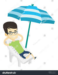 Clip On Umbrellas For Beach Chairs Young Asian Man Sitting Beach Chair Stock Vector 622463534