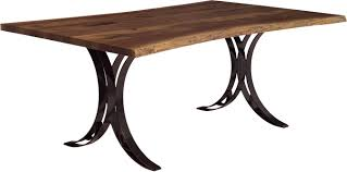 amish live edge solid wood table with double curved base
