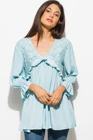 mint blouse shop wholesale womens mint blue embroidered ruffle tiered