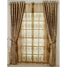 Arch Window Curtain Gold Color Printing Floral Luxurious Style Arch Window Curtains