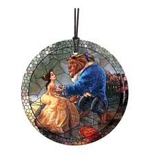 and the beast stained glass kinkade ornament