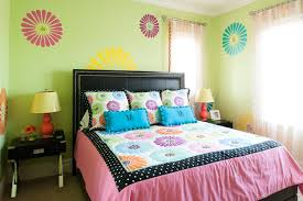 sunny bedroom ideas for women with flower wall stickers and
