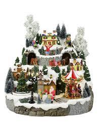 illuminated animated u0026 musical christmas snowy hillside village
