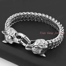 bracelet silver chain images New design retro wolf head bracelet for men trendy knight vintage jpg