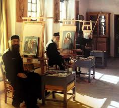 icon painting monks in a greek monastery enid