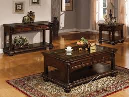 Coffee And End Table Sets Anondale Cherry Wood 3pc Coffee End Table Set Occasional Coffee