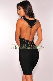 Draped Black Dress Black Bandage Gold Draped Chains Dress