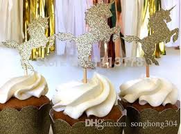 custom cupcake toppers custom personality cheap unicorn cupcake toppers gold glitter
