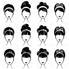 outlines of elegant with ponytail back view vector image