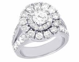 real diamond rings images 14k white gold real diamond solitaire halo engagement wedding ring jpg