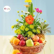 fruit and flower basket assorted collection of seasonal flowers with fresh fruits arranged