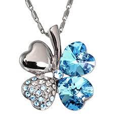 swarovski necklace blue stone images Four leaf clover heart shaped swarovski elements jpg