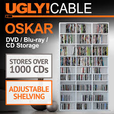 oskar 504 dvd bluray 1080 cd storage shelf rack unit white