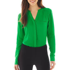 jcpenney worthington long sleeve button front blouse jcpenney