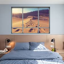 online get cheap desert wall mural aliexpress com alibaba group new 3d simulation fake windows wall stickers for bedroom desert traveler poster home decor living room removable art mural decal
