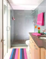 amusing kids bathroom sets ideas feats minimalist fixtures and doorless shower idea with colourful rug and contemporary kids bathroom sets plus round undermount sink