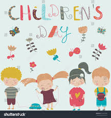 childrens day poster children flowers butterflies stock vector