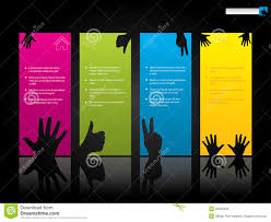 website template design with hand symbols stock vector image