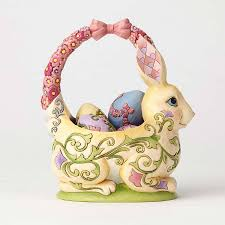jim shore easter baskets bunny basket with 4 eggs jim shore