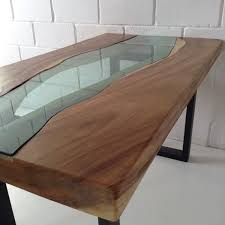 live edge acacia wood dining table with glass river centre slab