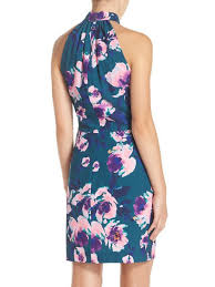 floral print sleeveless floral halter casual casual dress