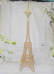 Tower Vase Centerpieces 4ft Gold Crystal Bead Metal Paris Eiffel Tower Statue Vase