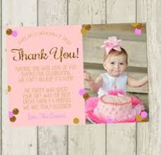 first birthday thank you card pink u0026 gold by southernskiesdesigns