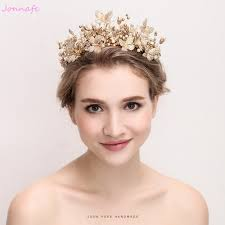 bridal tiaras jonnafe baroque gold crown women prom tiara vintage wedding hair