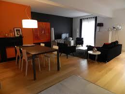 cuisine orange et noir salon gris fonce et blanc