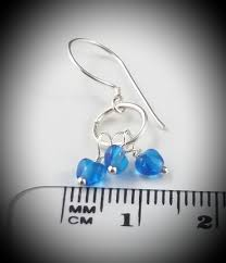 petite blue heart trio sterling silver wire wrapped dangly