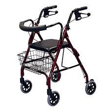 senior walkers with wheels medline 4 wheel rollator walker in burgandy mds86810 the home depot