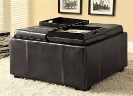 multi purpose black leather like storage ottoman by coaster 500876