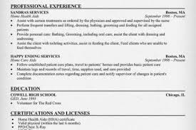 Sample Resume For Health Care Aide by Home Health Care Aide Resume Sample Reentrycorps