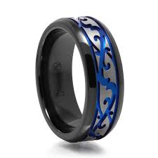 blue titanium wedding band men s paisley design black titanium ring w blue groove