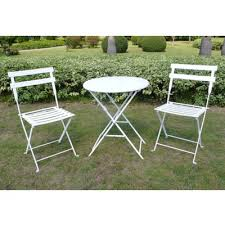 Metal Folding Bistro Chairs 3pc Patio Bistro Set White Threshold Target