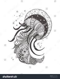 jellyfish ethnic doodle pattern coloring page stock vector
