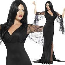 Morticia Addams Halloween Costumes Immortal Soul Costume Ladies Vampire Witch Fancy Dress Morticia