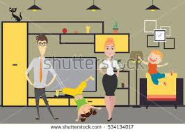 home interior vector family daddaughter stock vector 526777318