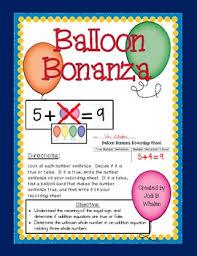 balloon bonanza balloon bonanza equal or not equal number sentences by jodi whalen