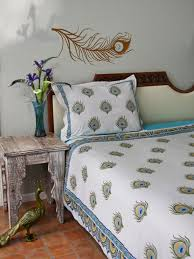 peacock duvet cover ivory saffron marigold