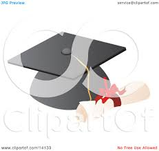 graduation cap and high diploma clipart illustration by