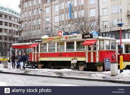 prague car prague city tram car being used as a fast food take away outlet on